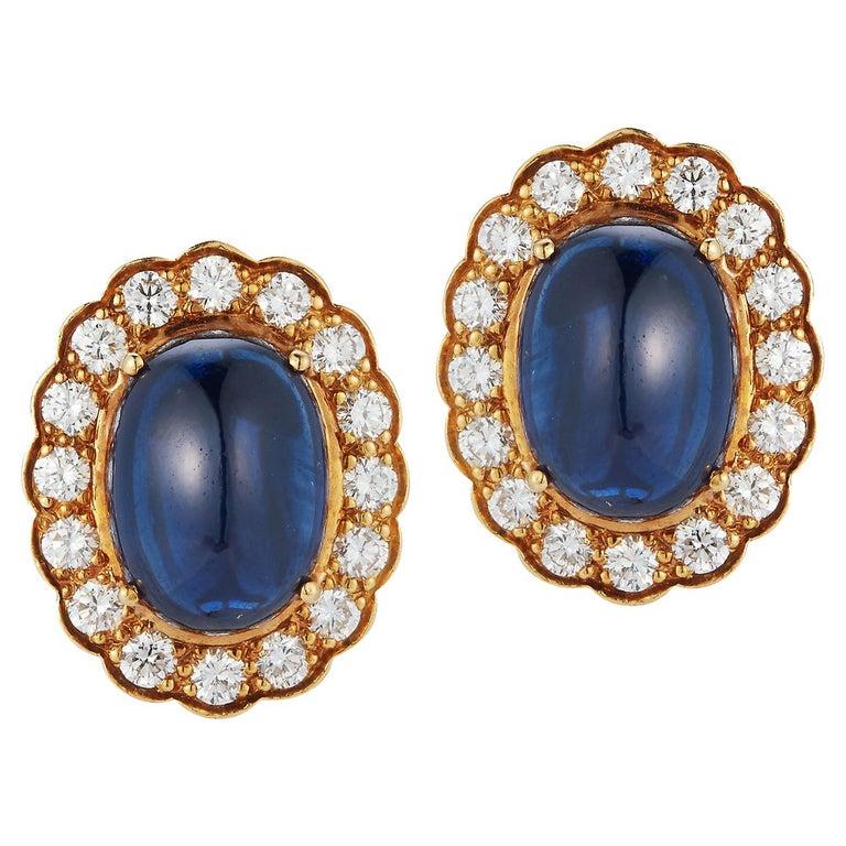 Cabochon Sapphire & Diamond Earrings For Sale