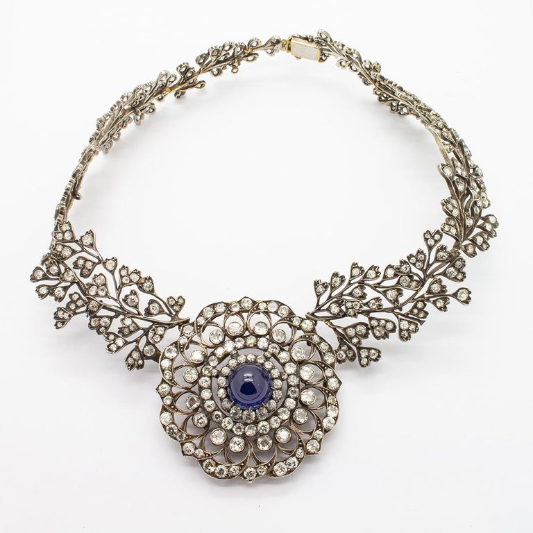 Cabochon Sapphire Diamond Necklace For Sale 2