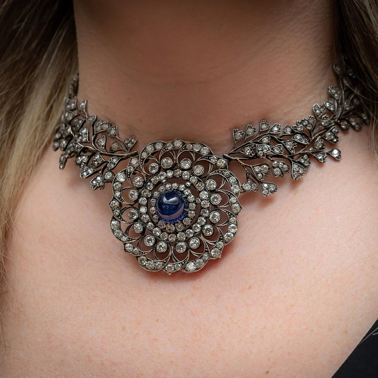 Cabochon Sapphire Diamond Necklace For Sale 6