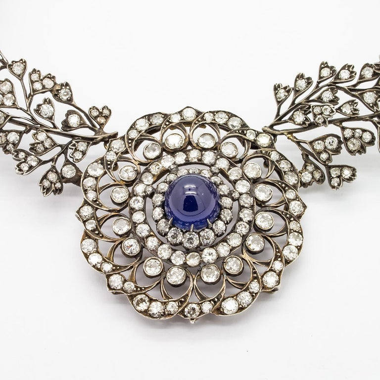 Women's or Men's Cabochon Sapphire Diamond Necklace For Sale