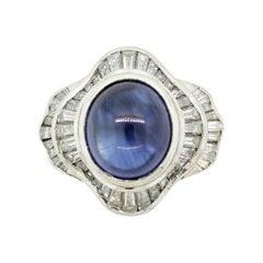 Cabochon Sapphire Diamond Platinum Ring
