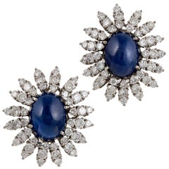 Cabochon Sapphire and Diamond Starburst Cluster Earrings