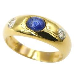 Cabochon Sapphire Diamond Three-Stone 18K Yellow Gold Ring