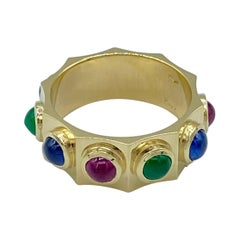 18KT Gold Band Ring Cabochon Sapphire Emerald Ruby Made in Italy