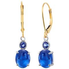Cabochon Sapphire Gold Hoop Earrings Weighing 4.50 Carat