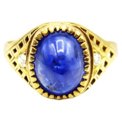 Cabochon Sapphire Old European Cut Diamond 1920s Yellow Gold Ring