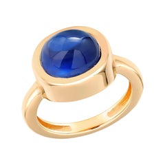 Cabochon Sapphire Raised Dome Yellow Gold Cocktail Ring Weighing 4.40 Carats