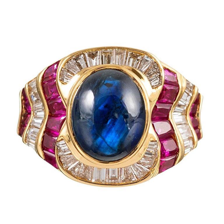 Cabochon Sapphire, Ruby and Diamond Ring For Sale