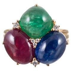 Cabochon Sapphire, Ruby and Emerald Ring with Diamonds