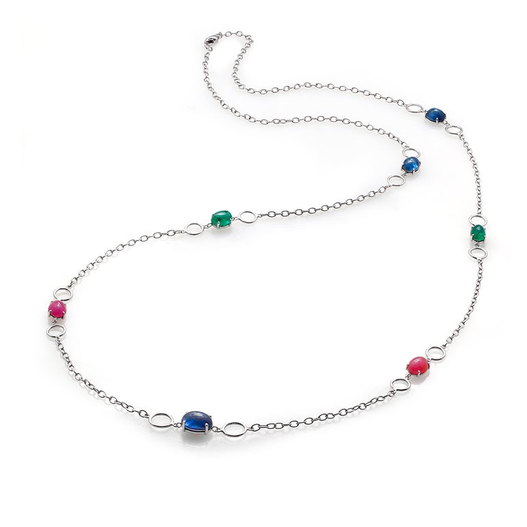OGI Cabochon Sapphire Ruby Emerald Sautoir 40 Inch White Gold Necklace In New Condition For Sale In New York, NY