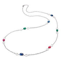 OGI Cabochon Sapphire Ruby Emerald Sautoir 40 Inch White Gold Necklace