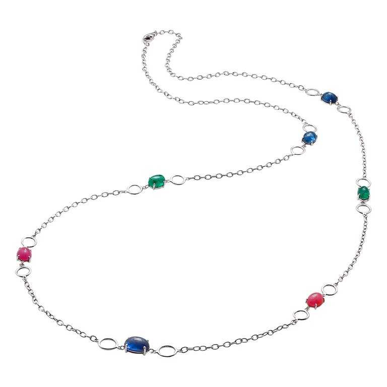 OGI Cabochon Sapphire Ruby Emerald Sautoir 40 Inch White Gold Necklace For Sale
