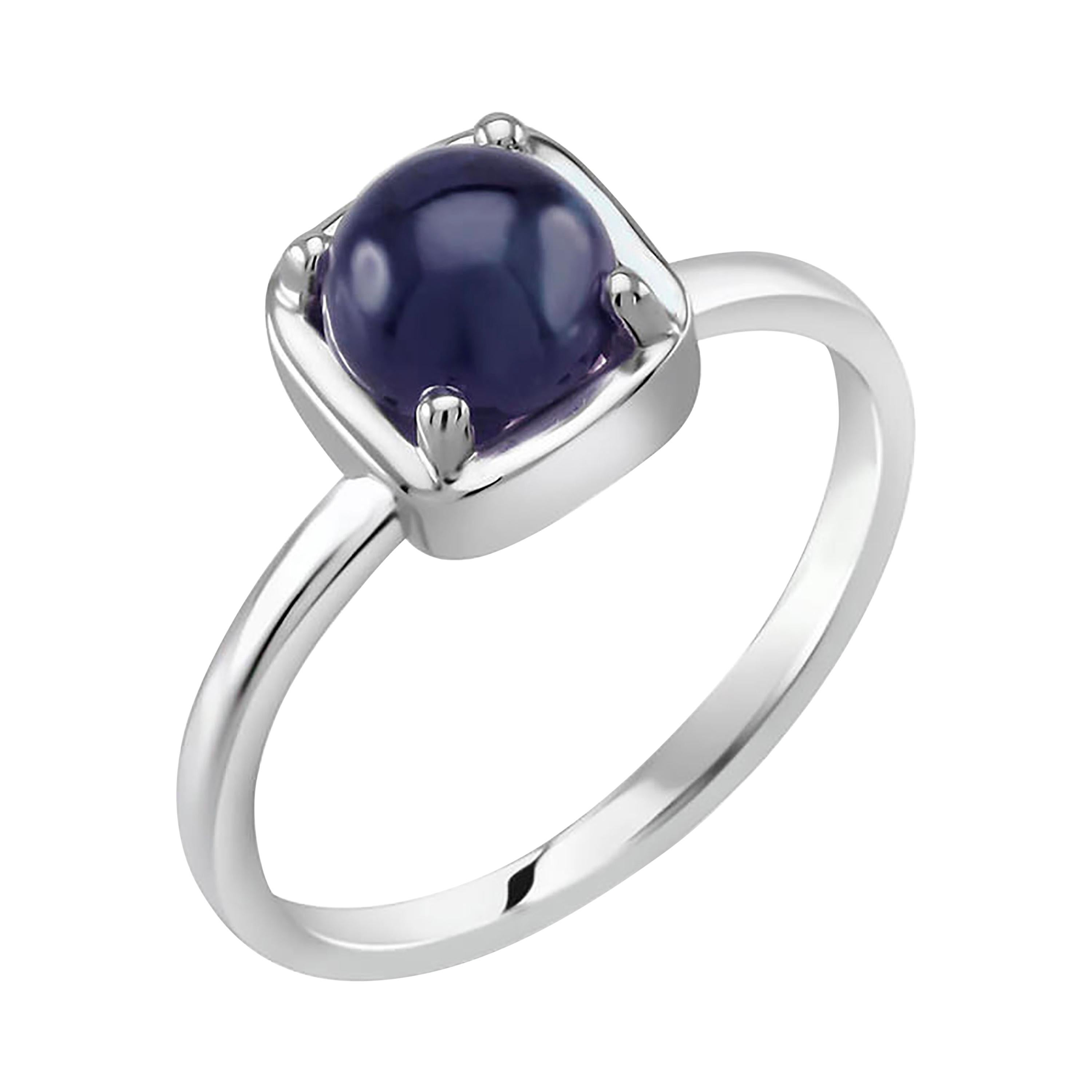 Cabochon Sapphire Solitaire Sterling Silver Ring White Gold Plate