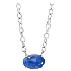 Cabochon Sapphire Weighing 9.20 Carat White and Yellow Gold Pendant Necklace