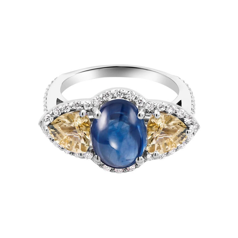 Cabochon Sapphire Yellow Sapphire Diamond Cocktail Gold Ring Weighing 6.74 Carat For Sale