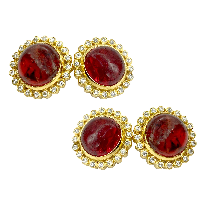 Cabochon Spessartine Garnet and Diamond Yellow Gold Cufflinks