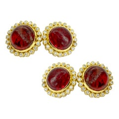 Cabochon Spessartine Garnet and Diamond Yellow Gold Cufflinks