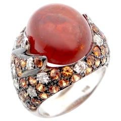 Cabochon Spessartite Spessartine Garnet Medley Diamond Orange Sapphire Gold Ring