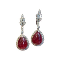 Cabochon Spinel and Diamond Earrings