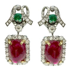 Cabochon Spinel, Emerald, and Diamond White Gold Drop Earrings