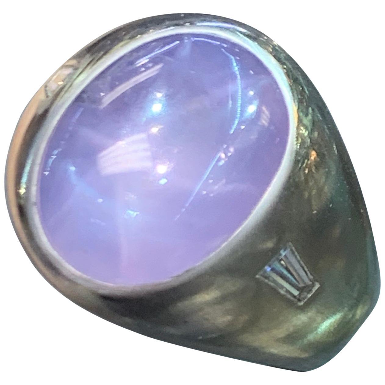Cabochon Star Sapphire and Diamond Men's Ring