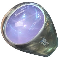 Cabochon Star Sapphire and Diamond Men's Ring
