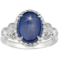 Cabochon Star Sapphire and Diamond Ring, 6.52 Carat