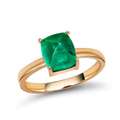Cabochon Sugar Loaf Emerald Solitaire Rose Gold Ring