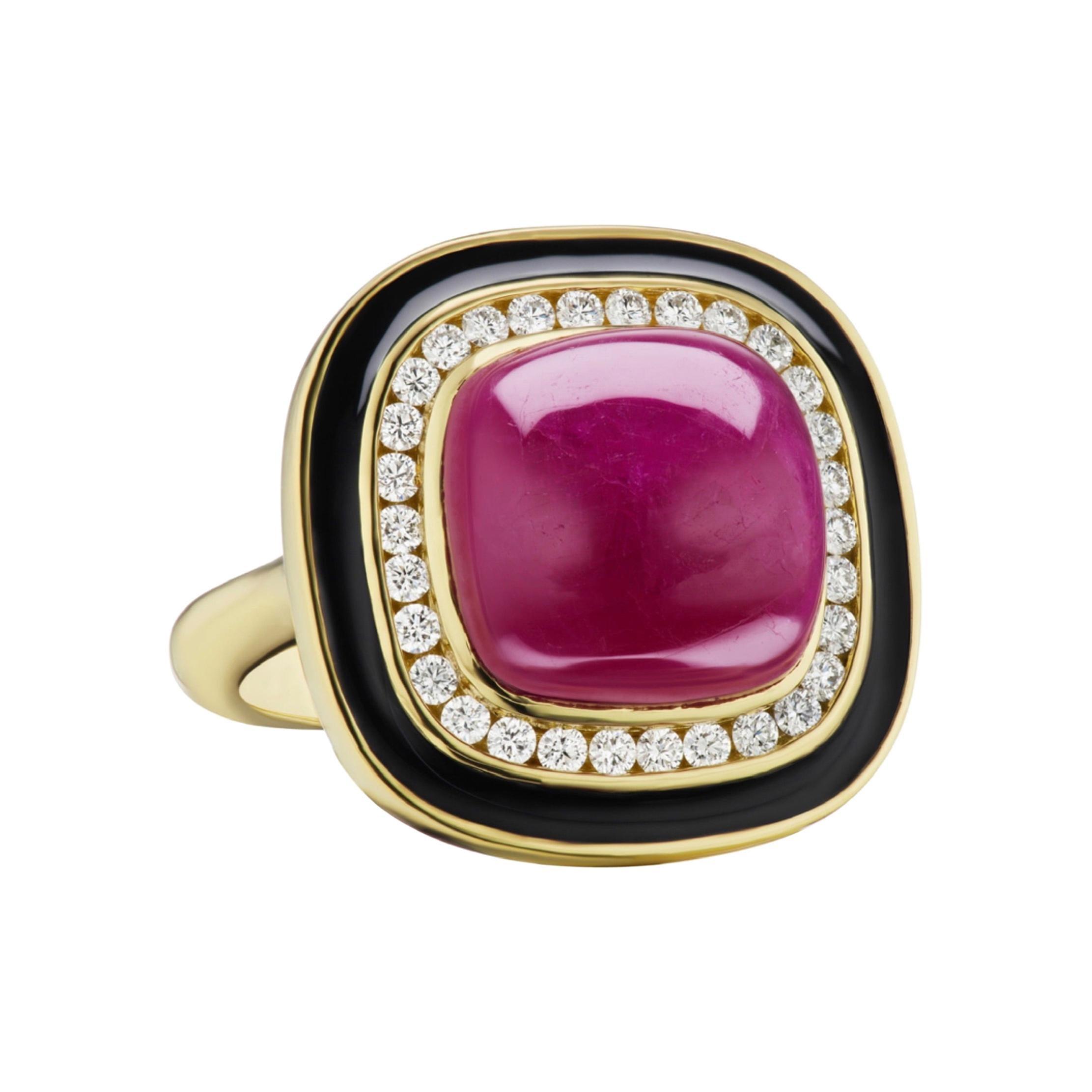 Cabochon Sugarloaf Ruby, Enamel and Diamond Ring