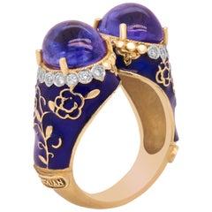 Cabochon Tanzanite and Diamond Blue Enamel Two-Stone Gold Ring Stambolian