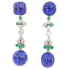 Cabochon Tanzanite Drop Gold Earrings Emerald Diamonds Butterfly Backs