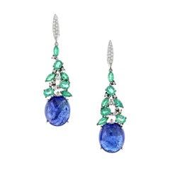 Cabochon Tanzanite Emerald Diamond Gold Earrings