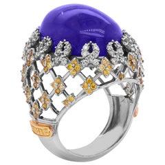 Cabochon Tanzanite Yellow and White Diamond White Gold Dome Ring Stambolian