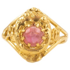 Cabochon Tourmaline .45 Carat 9 Karat Yellow Gold Ring