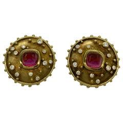 Cabochon Tourmaline and Diamond Earclips