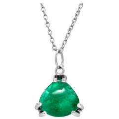 Cabochon Trillion Shaped Natural Colombian Emerald White Gold Drop Necklace