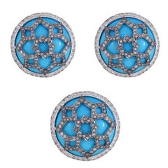 Cabochon Turquoise and Diamond 18 Karat Gold Ring and Earring Suite
