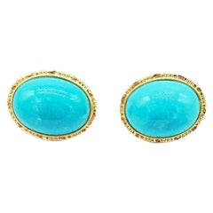 Cabochon Turquoise Bezel Earrings, Gold Omega Backs