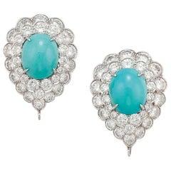 Cabochon Turquoise Diamond Earrings by Van Cleef & Arpels