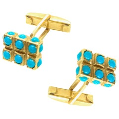 Cabochon Turquoise Yellow Gold Cufflinks