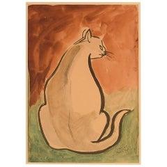 Cabolet, French Artist, Watercolor on Paper, Paris, 1963, Cat