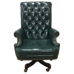 Cabot Wrenn Executive Chair Tufted Green Leather