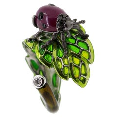 Cabouchon Ruby and Black Diamond Ladybug Cocktail Ring