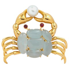Cabuchon Aquamarine with Ruby and Pearl Brooch Set in 18 Karat Gold Settings
