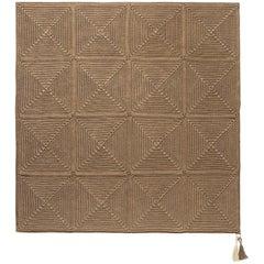 21st Century Asian Cacao Brown Outdoor Indoor Medium Rug Handmade Crochet Rug