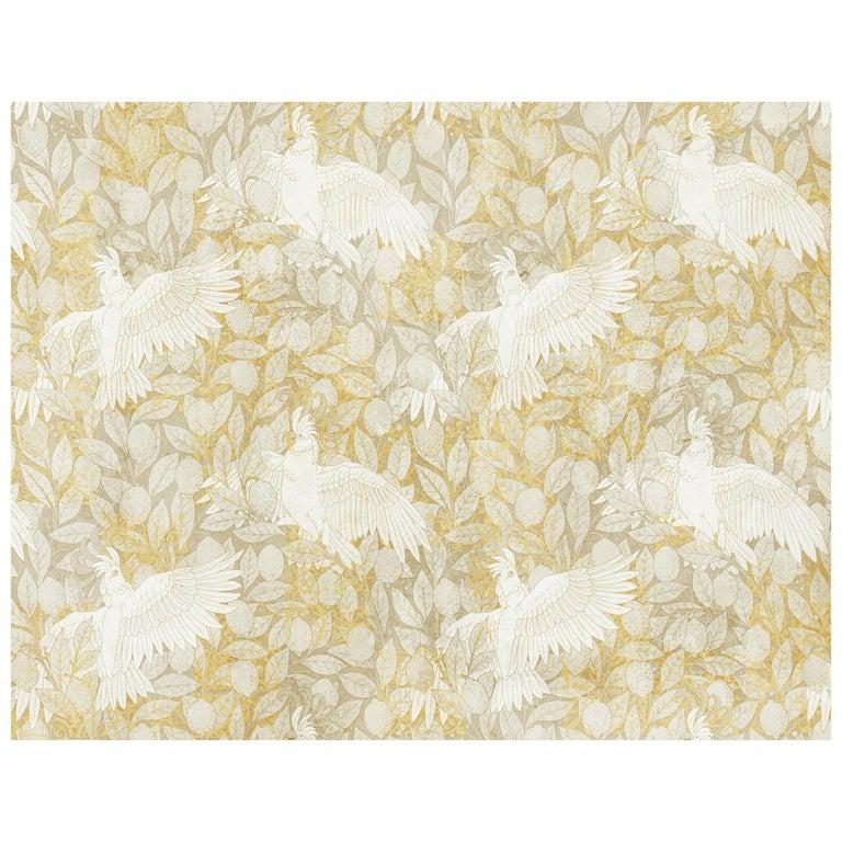 Cacatoès - custom mural wallpaper (golden sand) For Sale