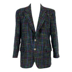 Cacharel Black Green Wool Tweed Classic Jacket 1980s