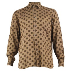 Cacharel Paris 1980s Men's Vintage Brown Cotton & Modal Button Up Shirt