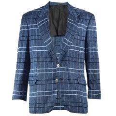 Cacharel Paris Men's Vintage Checked Rayon & Linen Sport Coat, 1990s