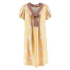 Cacharel Silk Multi-Coloured V-neck Bow-tie Dress FR 42